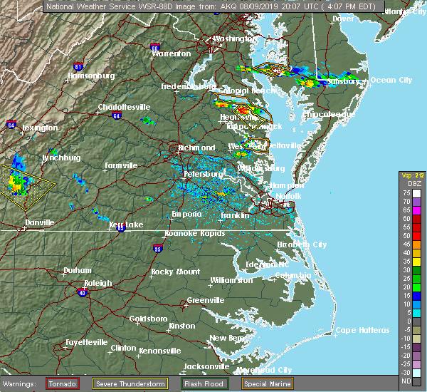 Radar Image for Severe Thunderstorms near Heathsville, VA at 8/9/2019 4:10 PM EDT