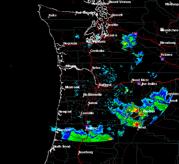 Radar Image for Severe Thunderstorms near Madras, OR at 8/9/2019 5:59 PM PDT