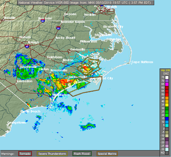 Radar Image for Severe Thunderstorms near Jacksonville, NC at 8/10/2019 4:01 PM EDT