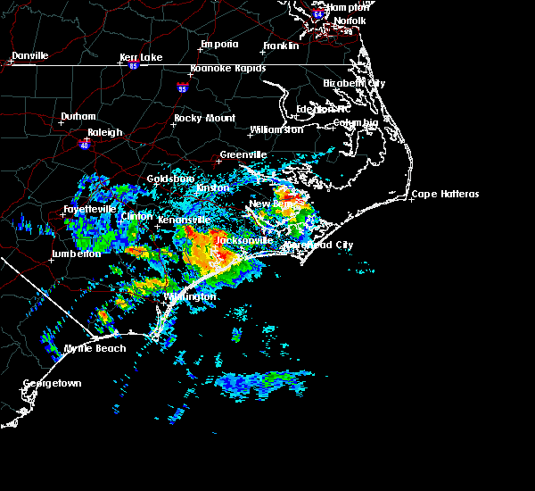 Radar Image for Severe Thunderstorms near Jacksonville, NC at 8/10/2019 4:31 PM EDT