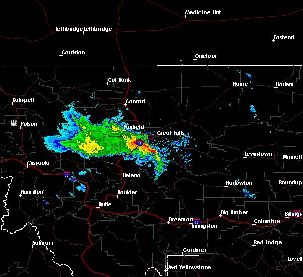 Radar Image for Severe Thunderstorms near Stockett, MT at 8/11/2019 9:28 AM MDT