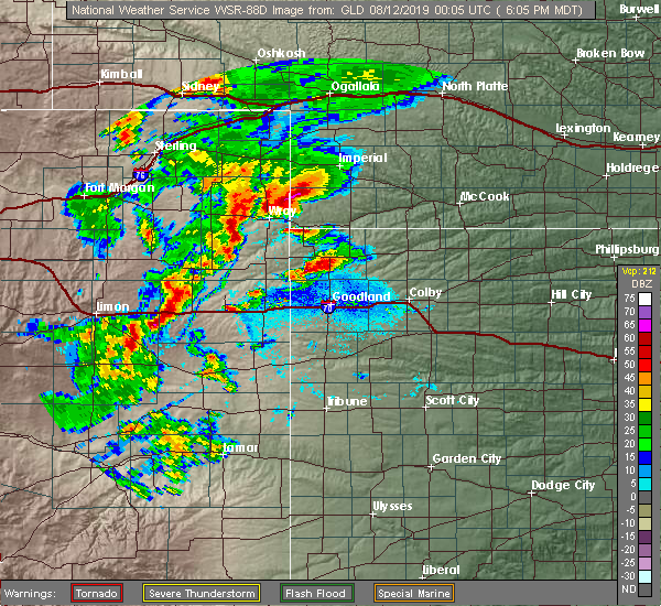 Radar Image for Severe Thunderstorms near Wray, CO at 8/11/2019 6:07 PM MDT