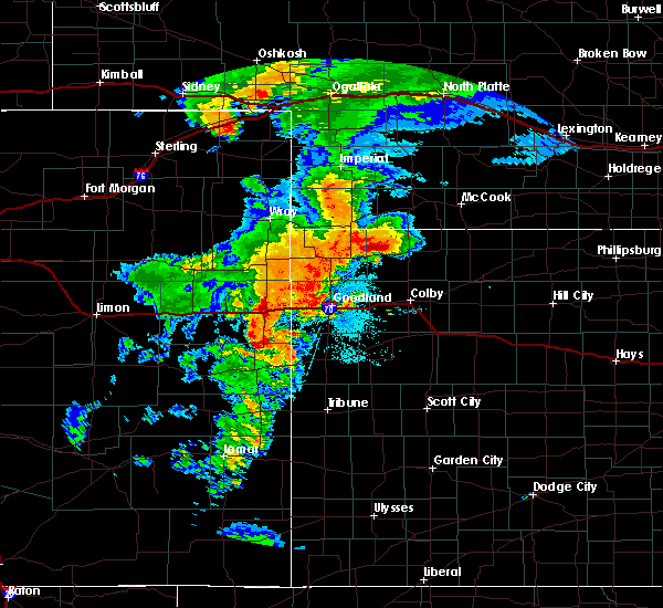 Radar Image for Severe Thunderstorms near Weskan, KS at 8/11/2019 7:35 PM MDT