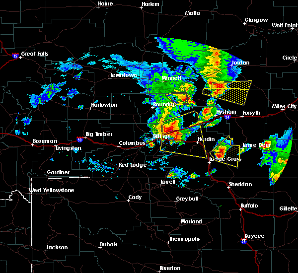 Radar Image for Severe Thunderstorms near Huntley, MT at 8/11/2019 7:43 PM MDT