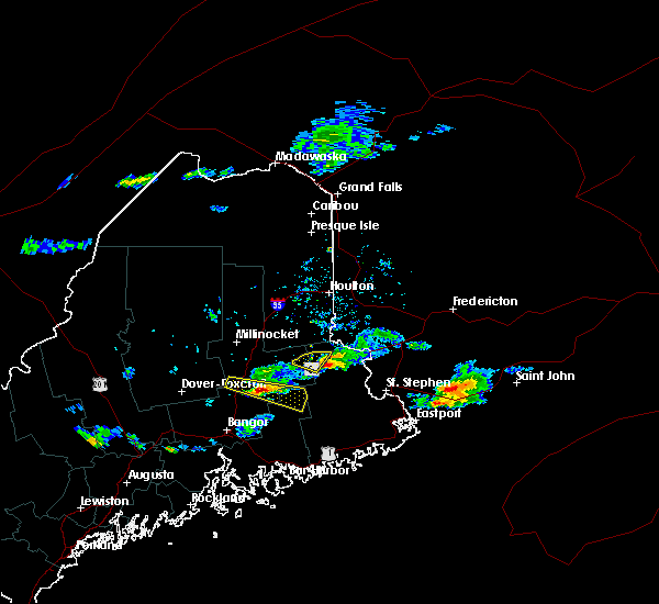 Radar Image for Severe Thunderstorms near Woodland, ME at 8/12/2019 5:48 PM EDT