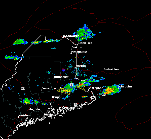 Radar Image for Severe Thunderstorms near Woodland, ME at 8/12/2019 6:11 PM EDT