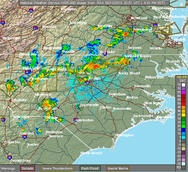 Radar Image for Severe Thunderstorms near Warrenton, NC at 8/13/2019 4:57 PM EDT