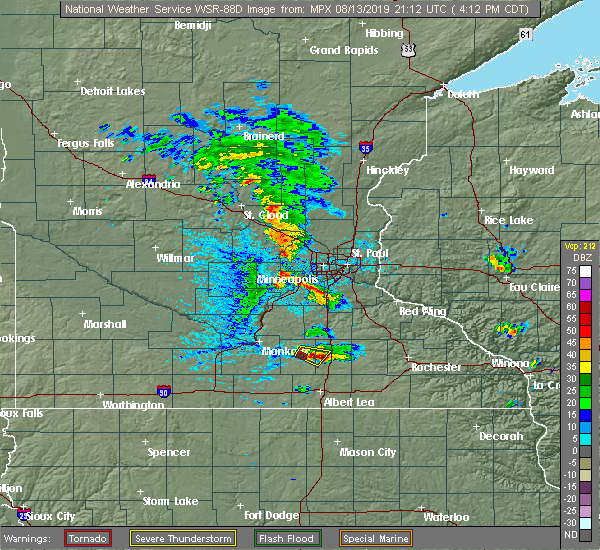 Radar Image for Severe Thunderstorms near Owatonna, MN at 8/13/2019 4:20 PM CDT