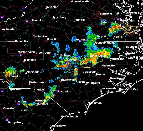 Radar Image for Severe Thunderstorms near Kenly, NC at 8/13/2019 6:24 PM EDT