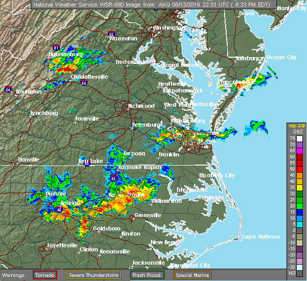 Radar Image for Severe Thunderstorms near Newport News, VA at 8/13/2019 6:36 PM EDT