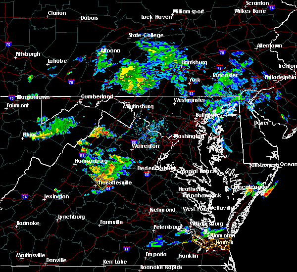 Radar Image for Severe Thunderstorms near Louisa, VA at 8/13/2019 7:11 PM EDT