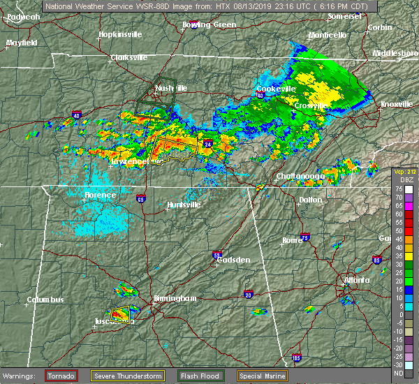 Radar Image for Severe Thunderstorms near Petersburg, TN at 8/13/2019 6:22 PM CDT