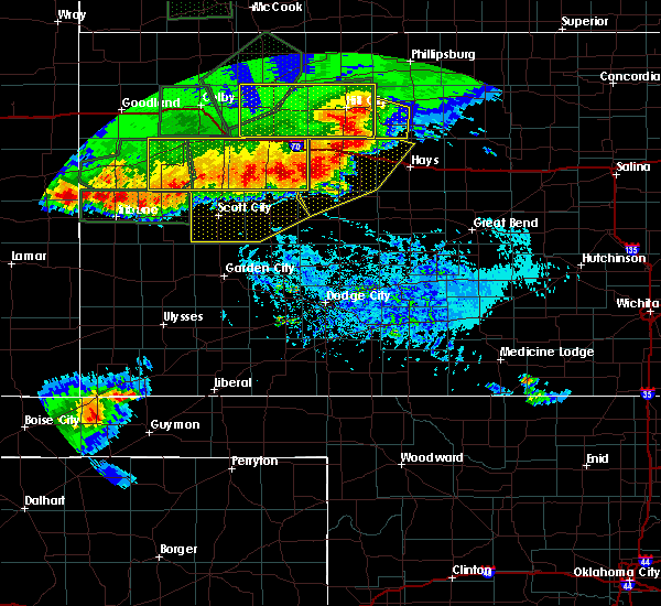 Radar Image for Severe Thunderstorms near Healy, KS at 8/13/2019 6:55 PM CDT