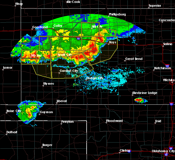 Radar Image for Severe Thunderstorms near La Crosse, KS at 8/13/2019 7:26 PM CDT