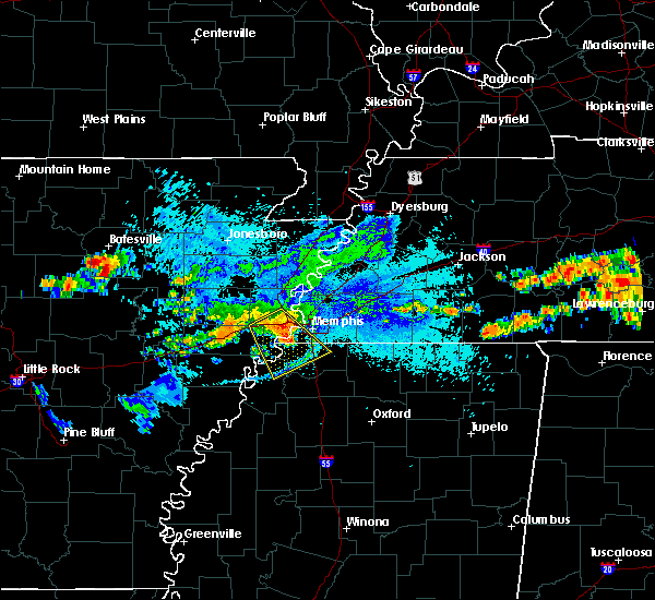 Radar Image for Severe Thunderstorms near West Memphis, AR at 8/13/2019 7:27 PM CDT