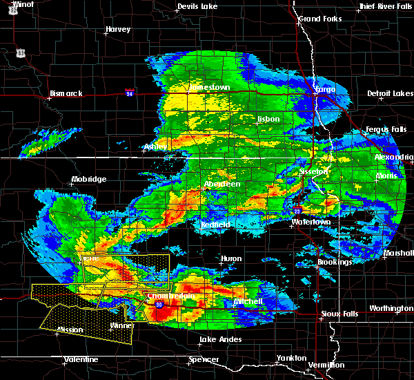 Radar Image for Severe Thunderstorms near Reliance, SD at 6/22/2015 3:21 AM CDT