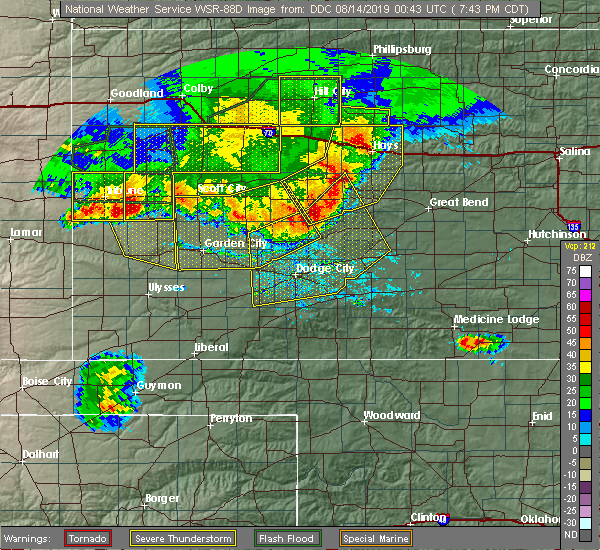 Radar Image for Severe Thunderstorms near Victoria, KS at 8/13/2019 7:59 PM CDT