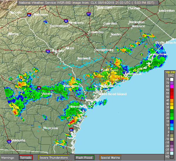 Radar Image for Severe Thunderstorms near Walterboro, SC at 8/14/2019 5:09 PM EDT