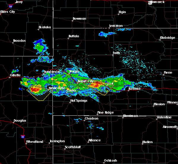Radar Image for Severe Thunderstorms near Wall, SD at 8/14/2019 11:49 PM MDT