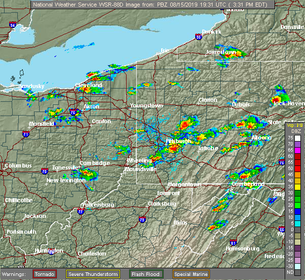 Radar Image for Severe Thunderstorms near Youngstown, PA at 8/15/2019 3:51 PM EDT