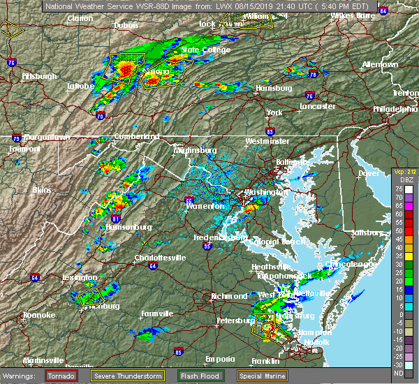 Radar Image for Severe Thunderstorms near Mount Jackson, VA at 8/15/2019 5:45 PM EDT