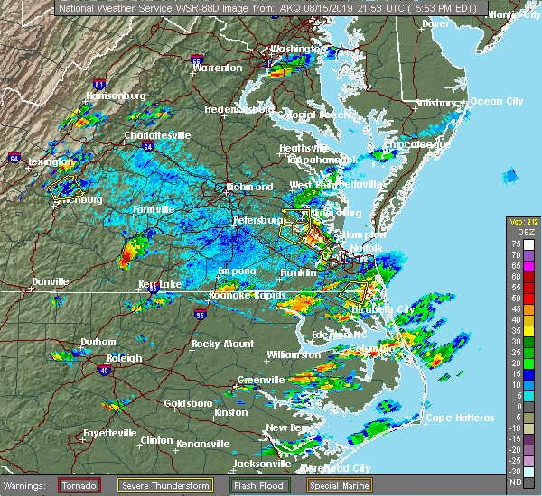 Radar Image for Severe Thunderstorms near Newport News, VA at 8/15/2019 5:59 PM EDT