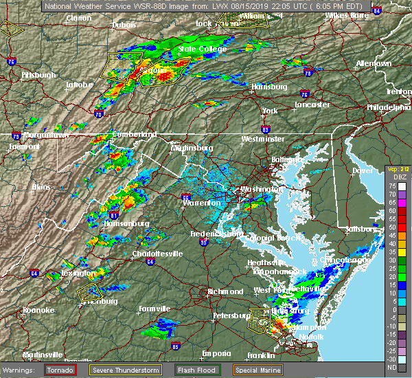 Radar Image for Severe Thunderstorms near Green Spring, WV at 8/15/2019 6:09 PM EDT