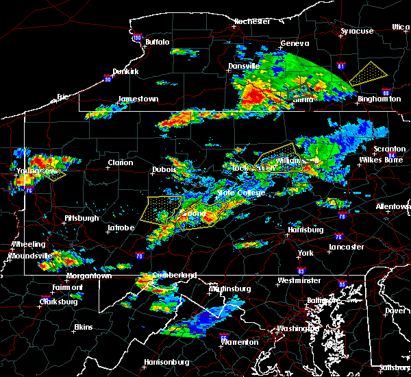 Radar Image for Severe Thunderstorms near Longfellow, PA at 8/15/2019 6:25 PM EDT