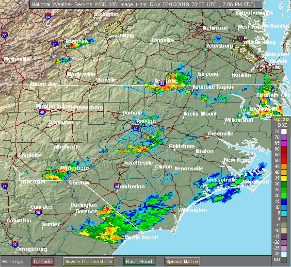 Radar Image for Severe Thunderstorms near Bracey, VA at 8/15/2019 7:09 PM EDT
