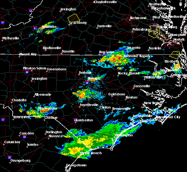 Radar Image for Severe Thunderstorms near Warrenton, NC at 8/15/2019 7:56 PM EDT