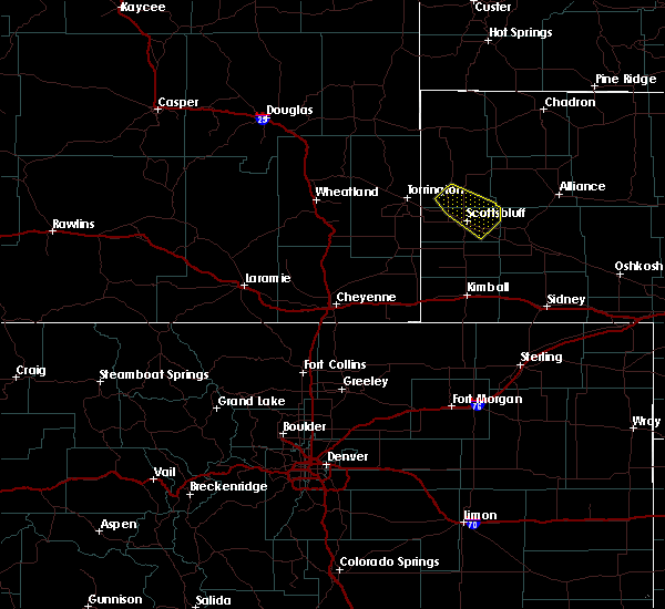 Radar Image for Severe Thunderstorms near Fort Laramie, WY at 8/16/2019 12:17 AM MDT