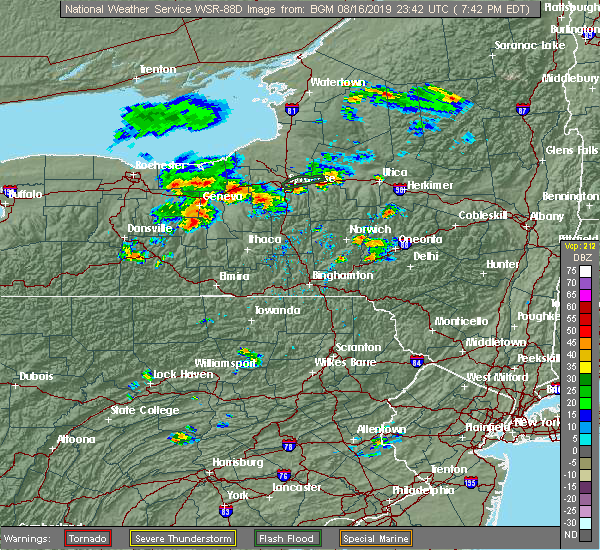 Radar Image for Severe Thunderstorms near Waterloo, NY at 8/16/2019 7:46 PM EDT