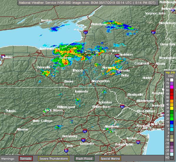 Radar Image for Severe Thunderstorms near Auburn, NY at 8/16/2019 8:22 PM EDT