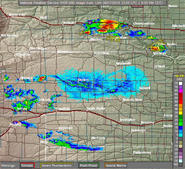 Radar Image for Severe Thunderstorms near Reliance, SD at 8/17/2019 6:13 PM CDT