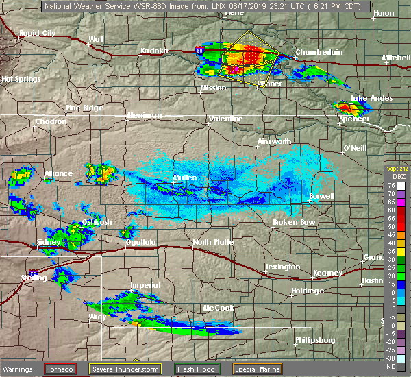 Radar Image for Severe Thunderstorms near Reliance, SD at 8/17/2019 6:24 PM CDT