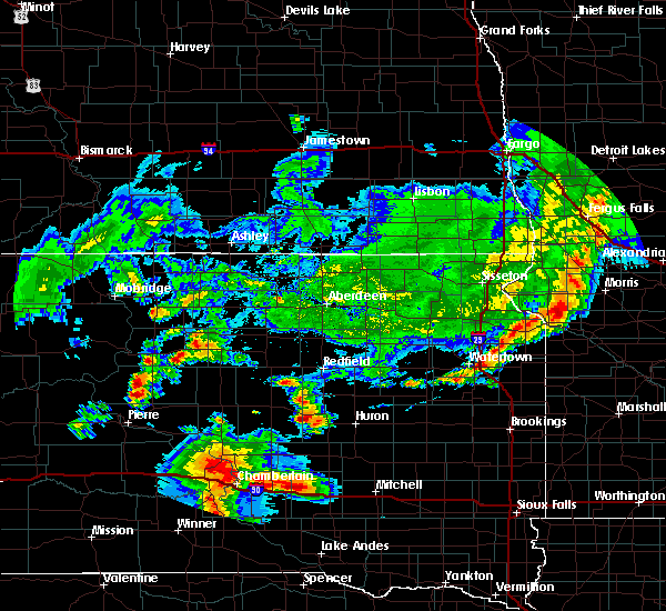 Radar Image for Severe Thunderstorms near Wessington, SD at 8/17/2019 7:16 PM CDT