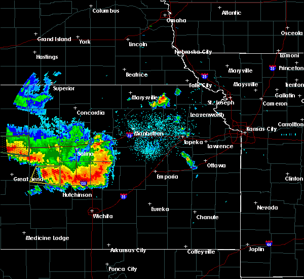 Radar Image for Severe Thunderstorms near Carlton, KS at 8/17/2019 11:57 PM CDT