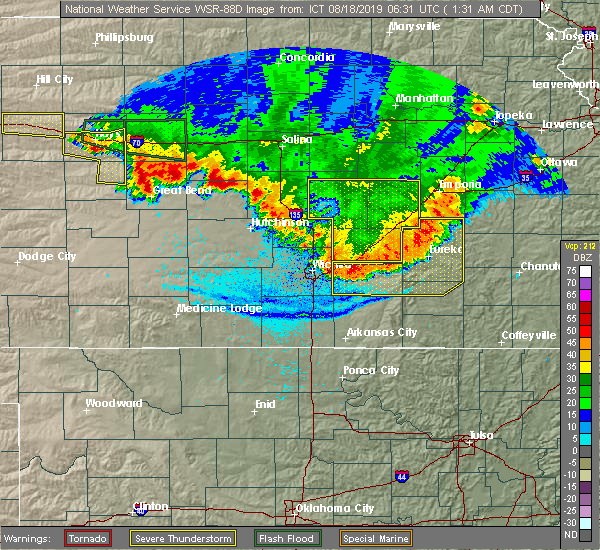 Radar Image for Severe Thunderstorms near Cassoday, KS at 8/18/2019 1:34 AM CDT