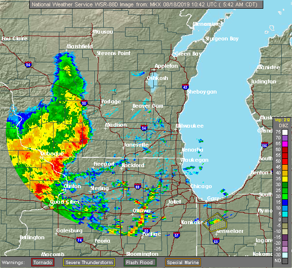 Radar Image for Severe Thunderstorms near Belleville, WI at 8/18/2019 5:46 AM CDT
