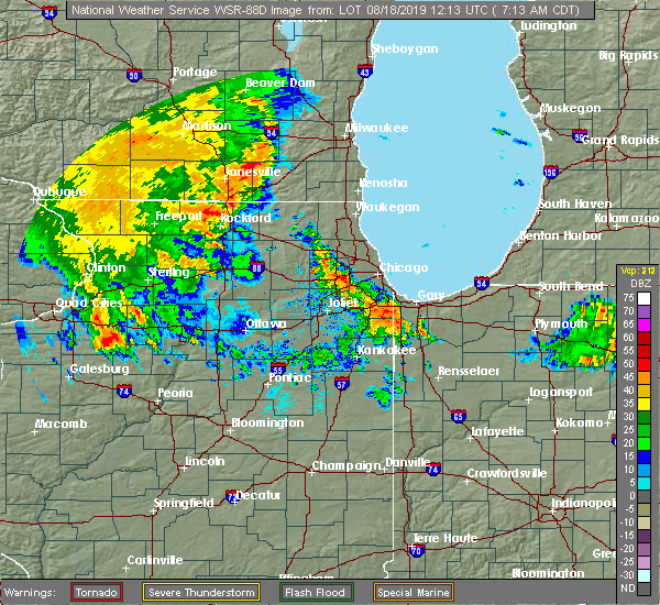 Radar Image for Severe Thunderstorms near Evanston, IL at 8/18/2019 7:18 AM CDT