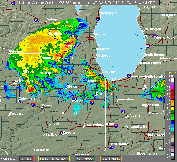 Radar Image for Severe Thunderstorms near Chicago Heights, IL at 8/18/2019 7:23 AM CDT