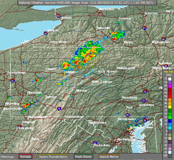 Radar Image for Severe Thunderstorms near St. Marys, PA at 8/18/2019 1:46 PM EDT