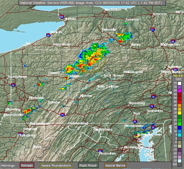 Radar Image for Severe Thunderstorms near Johnsonburg, PA at 8/18/2019 1:46 PM EDT