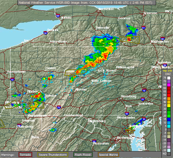 Radar Image for Severe Thunderstorms near Avis, PA at 8/18/2019 2:48 PM EDT