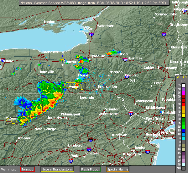 Radar Image for Severe Thunderstorms near Fairmount, NY at 8/18/2019 2:54 PM EDT
