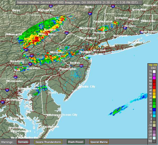 Radar Image for Severe Thunderstorms near Flemington, NJ at 8/18/2019 5:39 PM EDT