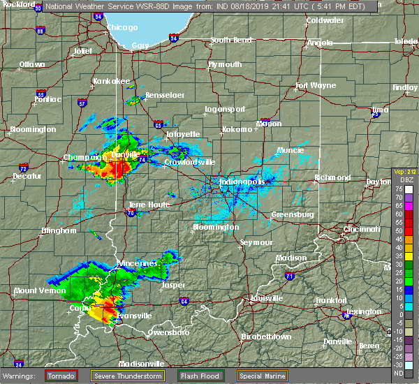 Radar Image for Severe Thunderstorms near Crawfordsville, IN at 8/18/2019 5:48 PM EDT