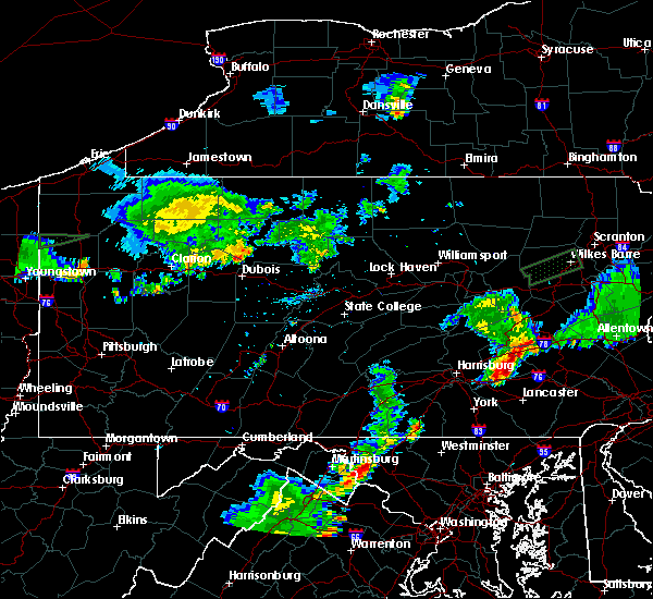 Radar Image for Severe Thunderstorms near Fivepointville, PA at 8/18/2019 7:59 PM EDT