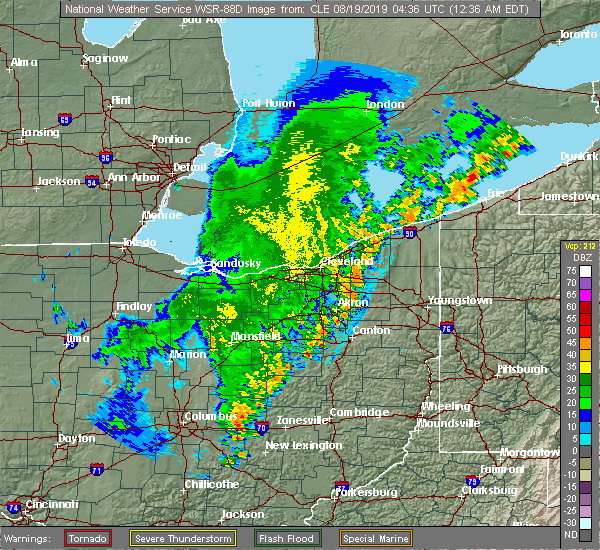 Radar Image for Severe Thunderstorms near Howard, OH at 8/19/2019 12:42 AM EDT