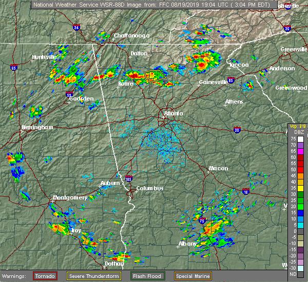 Radar Image for Severe Thunderstorms near Fairmount, GA at 8/19/2019 3:09 PM EDT